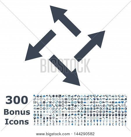 Centrifugal Arrows icon with 300 bonus icons. Vector illustration style is flat iconic bicolor symbols, smooth blue colors, white background.
