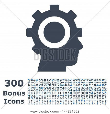 Cyborg Gear icon with 300 bonus icons. Vector illustration style is flat iconic bicolor symbols, smooth blue colors, white background.