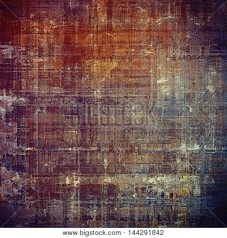 Grunge texture or background with retro design elements and different color patterns: gray; blue; red (orange); purple (violet); yellow (beige); brown