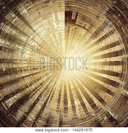 Spherical vintage frame, grunge background with old style decor elements and different color patterns: gray; yellow (beige); brown; white