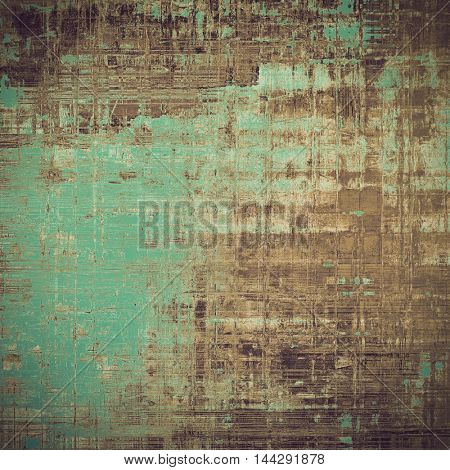 Old, grunge background or damaged texture in retro style. With different color patterns: gray; green; yellow (beige); brown; cyan
