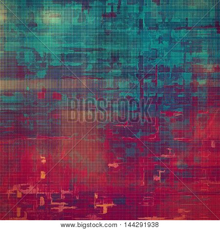 Grunge design composition over ancient vintage texture. Creative background with different color patterns: blue; red (orange); purple (violet); cyan; pink