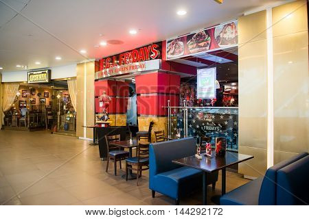 SAINT PETERSBURG, RUSSIA - AUGUST 14, 2014: TGI Fridays restaurant in the Commercial center 'Galery' in Saint Petersburg. One of the biggest commercial centres in the city, opened on Nov 25, 2010