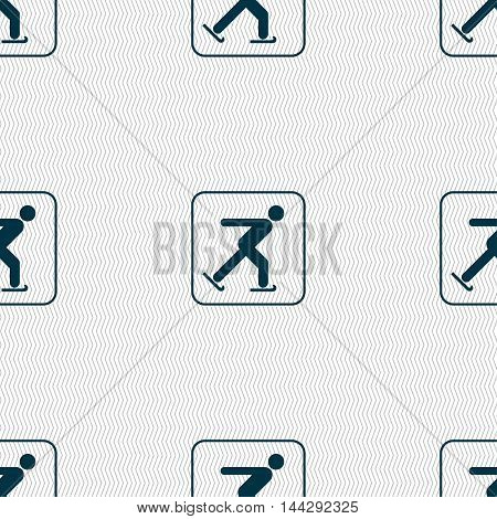 Ice Skating Sign. Seamless Pattern With Geometric Texture. Vector