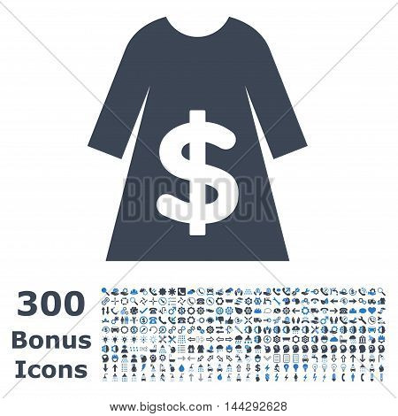 Dress Sale icon with 300 bonus icons. Vector illustration style is flat iconic bicolor symbols, smooth blue colors, white background.