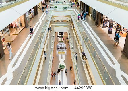 SAINT PETERSBURG, RUSSIA - AUGUST 14, 2014: Commercial center 'Galery' in Saint Petersburg. One of the biggest commercial centres in the city, opened on Nov 25, 2010