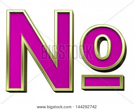 Number mark from pink with gold shiny frame alphabet set, isolated on white. 3D illustration.