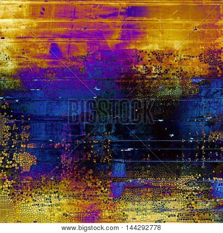 Vintage torn texture or stylish grunge background with ancient design elements and different color patterns: blue; red (orange); purple (violet); yellow (beige); brown; black