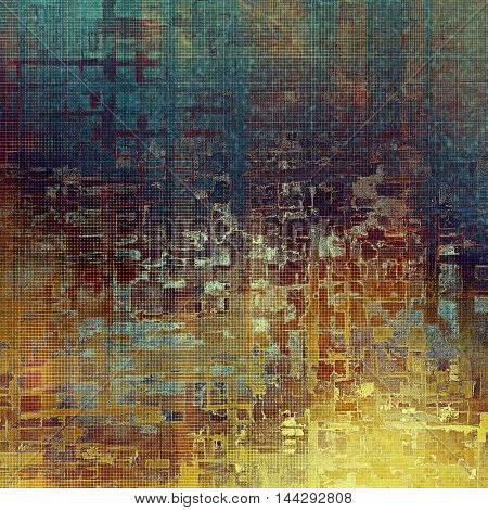 Vintage style background with ancient grunge elements. Aged texture with different color patterns: blue; purple (violet); yellow (beige); brown; pink; cyan