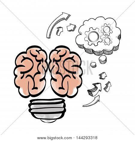 brain cloud gears arrow big and great idea creativity icon set. Sketch and draw design. Vector illustration
