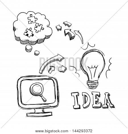 bulb computer lupe puzzle big and great idea creativity icon set. Sketch and draw design. Vector illustration