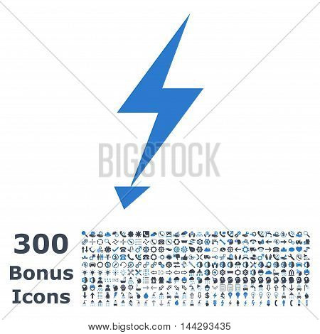 Electric Strike icon with 300 bonus icons. Vector illustration style is flat iconic bicolor symbols, smooth blue colors, white background.