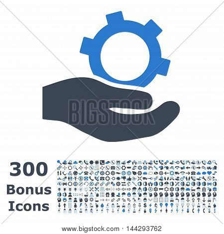 Engineering Service icon with 300 bonus icons. Vector illustration style is flat iconic bicolor symbols, smooth blue colors, white background.