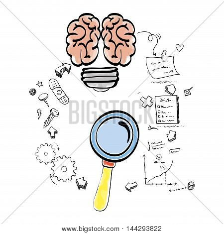 brain bulb lupe gears paper infographic big and great idea creativity icon set. Sketch and draw design. Vector illustration