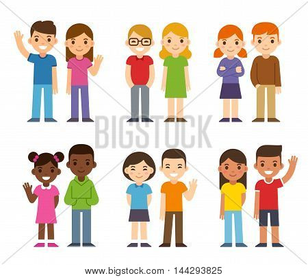 Set of cute cartoon diverse children boys and girls. Simple flat vector style.