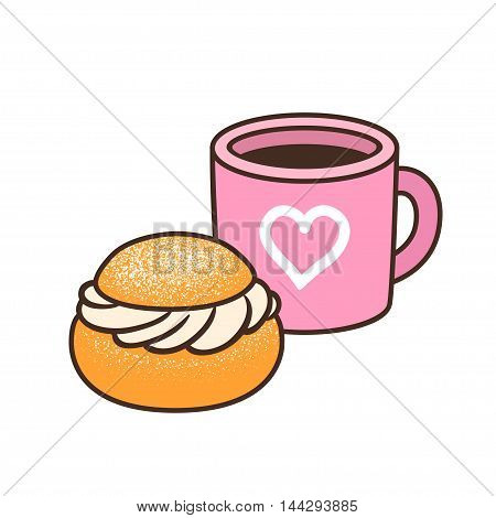 Cup of coffee or tea and semla (swedish whipped cream bun). Isolated hand drawn vector illustration of cute breakfast food.