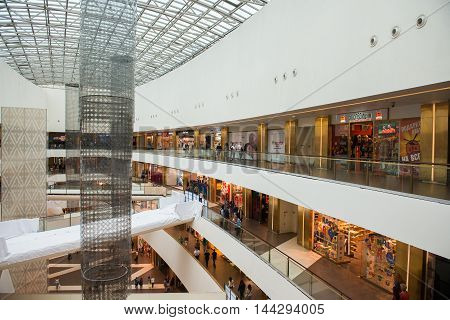 SAINT PETERSBURG, RUSSIA - AUGUST 14, 2014: View of the Commercial center 'Galery' in Saint Petersburg. One of the biggest commercial centres in the city, opened on Nov 25, 2010