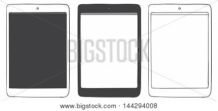 Tablet computers vector drawing illustration isolated on white.