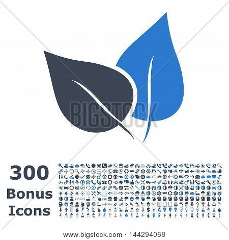Flora Plant icon with 300 bonus icons. Vector illustration style is flat iconic bicolor symbols, smooth blue colors, white background.