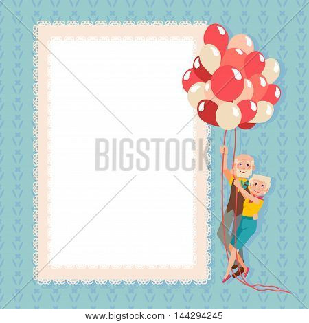 Postcard Happy Grandparents Day. Grandmother and grandfather flight on balloons. Enjoying life. Anniversary. Plate for filling