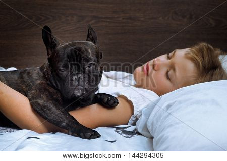 Joint dream girl and dog. Man and animal sleeping together on the bed