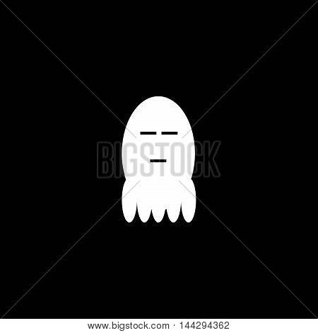 Cute little ghost white depression.Pensive emoticon Vector Face.