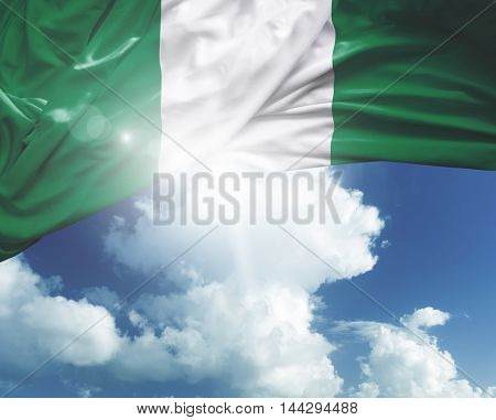 Nigeria flag on a beautiful day