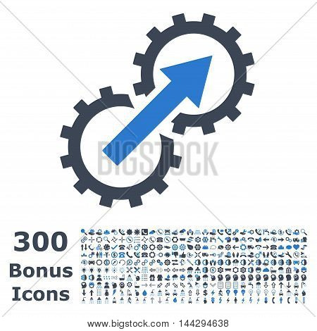 Gear Integration icon with 300 bonus icons. Vector illustration style is flat iconic bicolor symbols, smooth blue colors, white background.