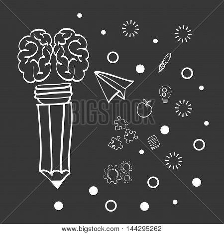 brain pencil paperplane big and great idea creativity icon set. Sketch and draw design. Vector illustration
