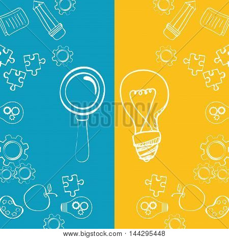 bulb lupe puzzle gears pencil apple big and great idea creativity icon set. Sketch and draw design. Vector illustration
