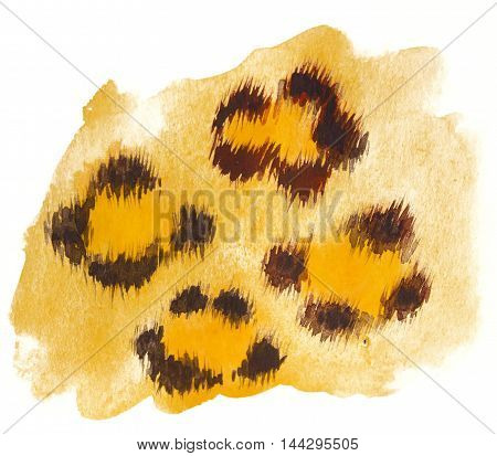watercolor illustration of leopard skin for background