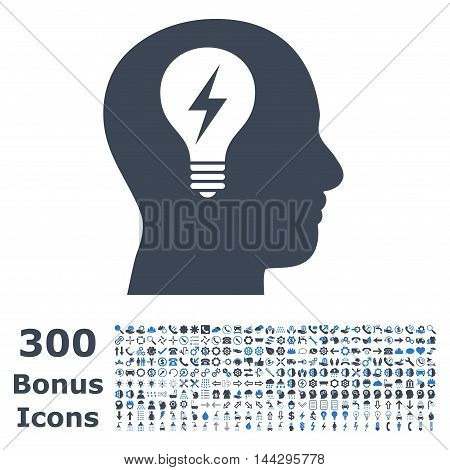 Head Bulb icon with 300 bonus icons. Vector illustration style is flat iconic bicolor symbols, smooth blue colors, white background.