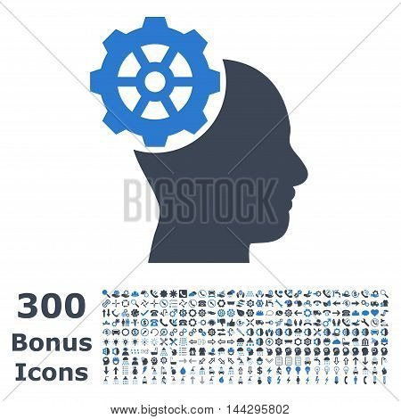 Head Gear icon with 300 bonus icons. Vector illustration style is flat iconic bicolor symbols, smooth blue colors, white background.