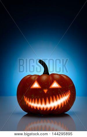 Halloween Pumpkin With Scary Mug