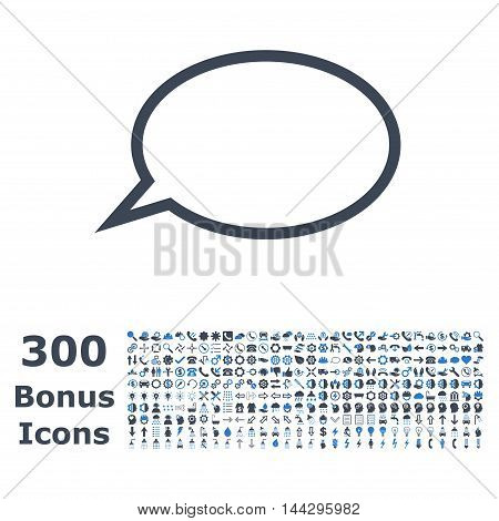 Hint Cloud icon with 300 bonus icons. Vector illustration style is flat iconic bicolor symbols, smooth blue colors, white background.