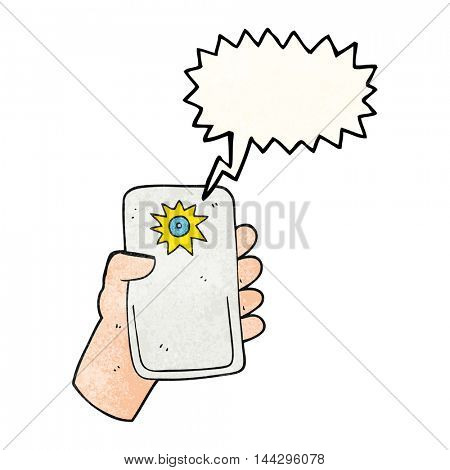 freehand speech bubble textured cartoon camera taking photo