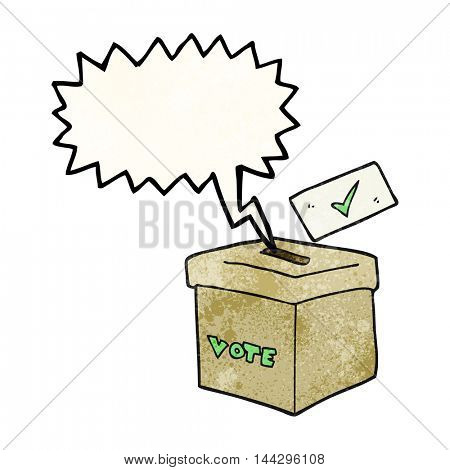 freehand speech bubble textured cartoon ballot box