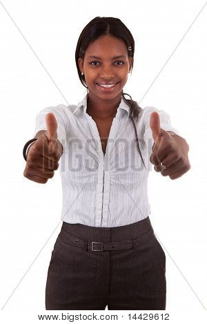 Young Black Woman Making Two Thumbs Up