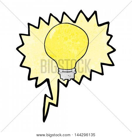 freehand speech bubble textured cartoon light bulb