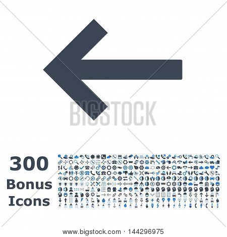 Left Arrow icon with 300 bonus icons. Vector illustration style is flat iconic bicolor symbols, smooth blue colors, white background.