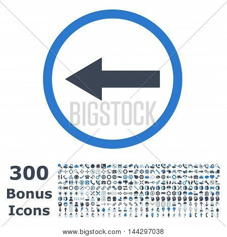 Left Rounded Arrow icon with 300 bonus icons. Vector illustration style is flat iconic bicolor symbols, smooth blue colors, white background.