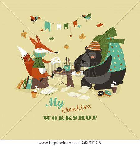 Cute fox and bear at creative workshop. Vector illustration