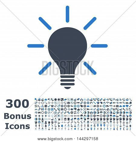 Light Bulb icon with 300 bonus icons. Vector illustration style is flat iconic bicolor symbols, smooth blue colors, white background.