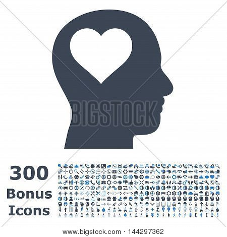 Lover Head icon with 300 bonus icons. Vector illustration style is flat iconic bicolor symbols, smooth blue colors, white background.