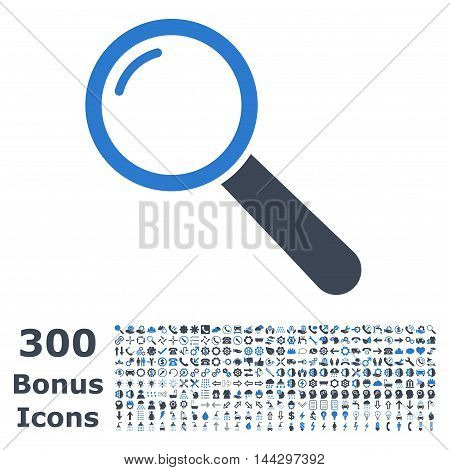 Magnifier icon with 300 bonus icons. Vector illustration style is flat iconic bicolor symbols, smooth blue colors, white background.