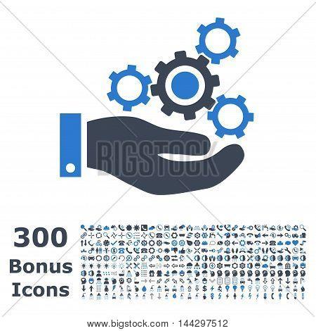 Mechanics Service icon with 300 bonus icons. Vector illustration style is flat iconic bicolor symbols, smooth blue colors, white background.