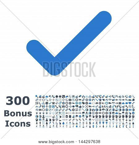 Ok icon with 300 bonus icons. Vector illustration style is flat iconic bicolor symbols, smooth blue colors, white background.