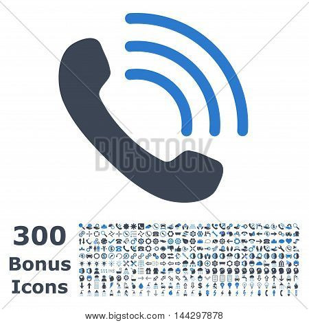 Phone Call icon with 300 bonus icons. Vector illustration style is flat iconic bicolor symbols, smooth blue colors, white background.