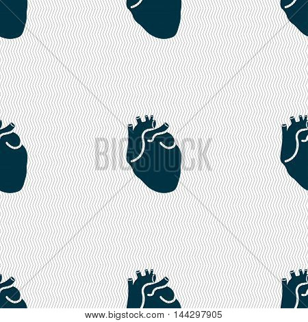 Human Heart Sign. Seamless Pattern With Geometric Texture. Vector