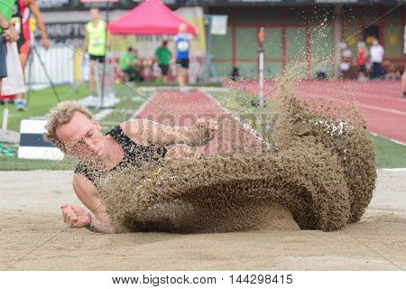 KAPFENBERG, AUSTRIA - AUGUST 8, 2015: Christian Bayer (#5 Austria) participates in the national track and field championship.